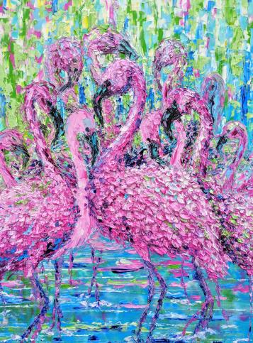 Image of Artwork of Flock of Flamingos
