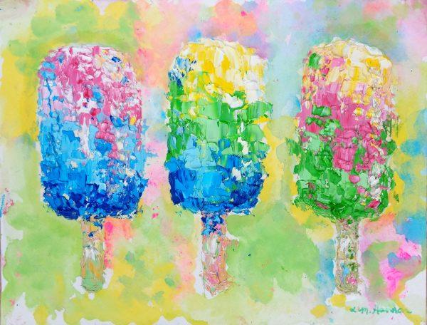 Painting of three ice cream bars