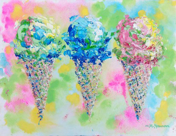 Image of three ice cream cones in a row