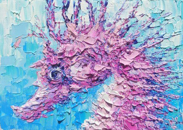 Pink seahorse painting